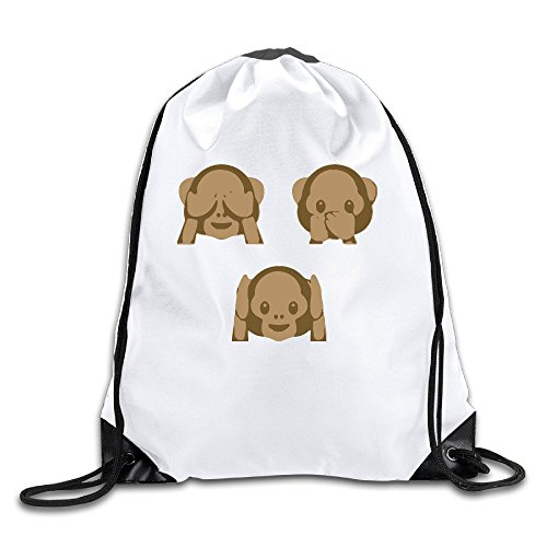 Emoji Mommy's Little Monkey White Drawstring Backpack Sport Bag For Men & Women