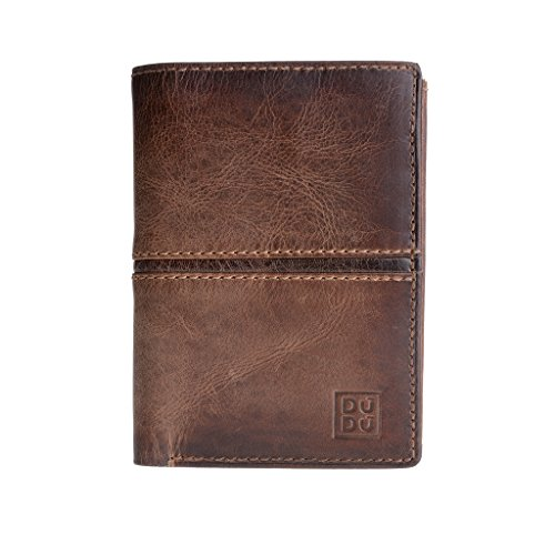 Dark brown format coin pocket vertical aged Man's Valerio wallet Hunter effect ~ leather DUDU t6qOwBY7