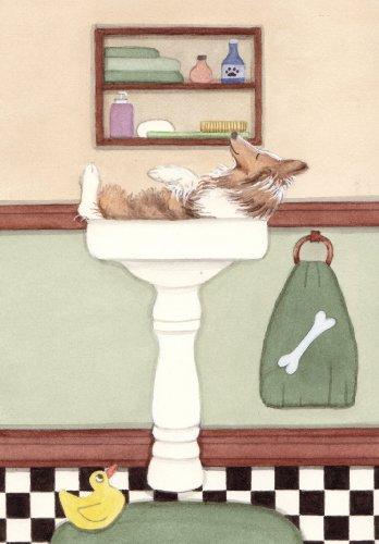 Sheltie (shetland sheepdog) fills sink at bath time / Lynch folk art print