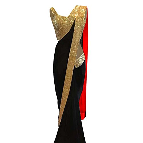 Indian Ethnic Bollywood Saree Party Wear Pakistani Designer Sari Wedding (Black Saree Designer)