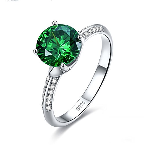 Jrose 925 Sterling Silver Solitaire Engagement Ring for Women with Round Cut Created Emerald (Emerald Solitaire)