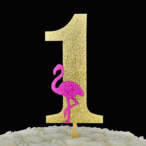 Flamingo First Birthday Glitter Paper Cake Topper