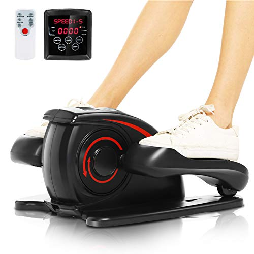 ANCHEER Desk Electric Elliptical Machine Trainer,Under Desk Bike Pedal Exerciser,Mini Cycle Exercise Bike for Leg Pedder Portable with Display Monitor, Quiet & Compact. (Black)