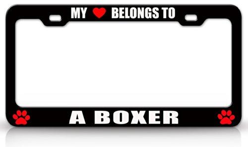 I Love My Boxer License Plate Frame Tag Holder