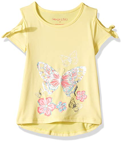 Colette Lilly Girls' Toddler Short Sleeve Knit Top, Yellow Butterfly, 3T]()