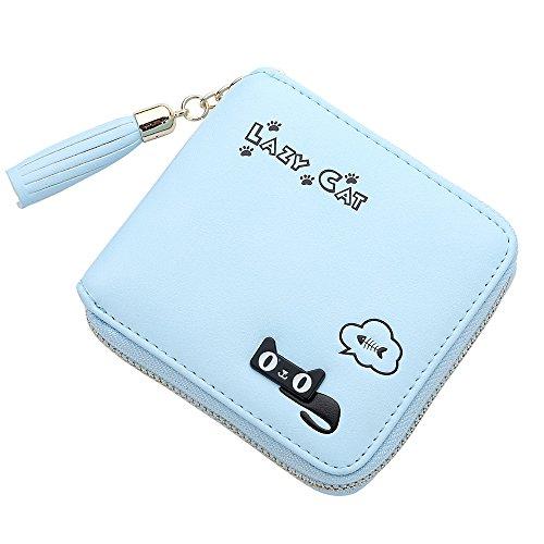 Lazy Cat Credit Card Holder Women's Wristlet Wallet Metal Zipper with Tassel