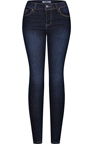 2LUV Women's Stretchy 5 Pocket Dark Denim Skinny Jeans Medium Blue (Denim Three Pocket)
