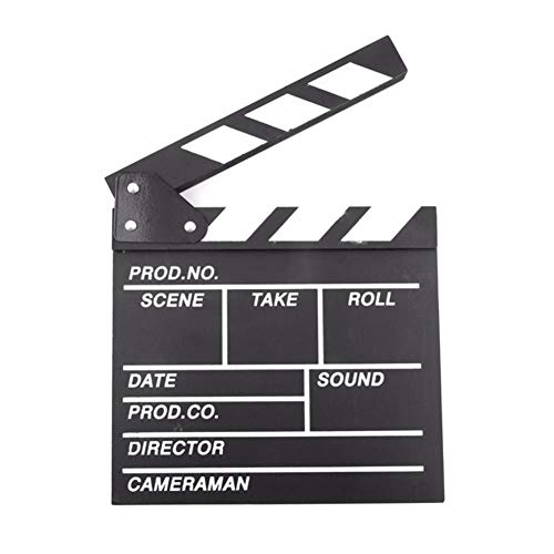BERON Professional Vintage TV Movie Film Clap Board Slate Cut Prop Director Clapper (Black) ()