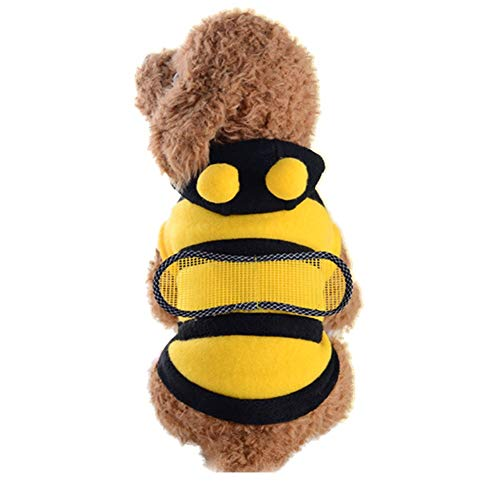 Bumblebee Dog Costume (Dog Bee Costume Halloween Bumble Bee Dog Clothes Pet Hoodies)