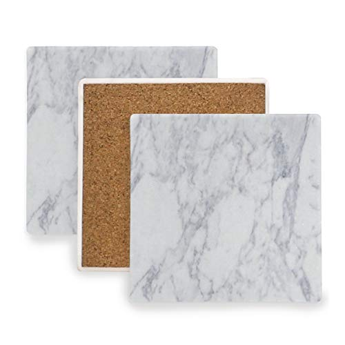 Large Square Drink Coasters,Marble Texture Ceramic Thirsty Stone With Cork Back Cup mats Protect Your Furniture From Spills, Scratches, Water Rings and Damage 2 pcs - Game Day Ceramic Pitcher