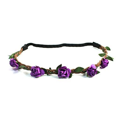eDealMax Dcor Fleur extensible Femmes Tress Bande Bandeau cheveux, Violet, 0,01 Pound