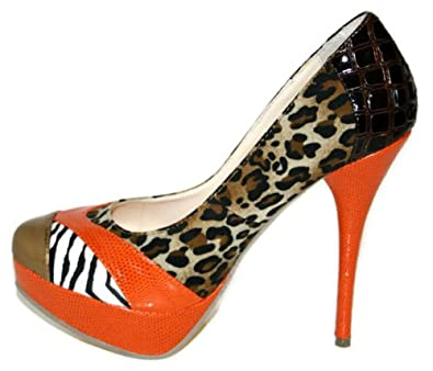 High Heels ORANGE Patchwork Damen Schuhe Platteau Schuhe Tiger Look ...