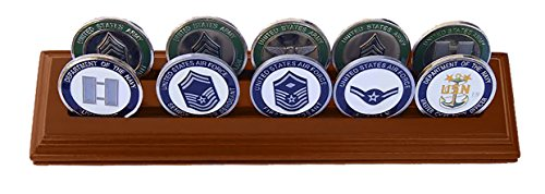 Row Display Coin (DECOMIL Military Collectible Challenge Coin Holder (Medium, 2 Rows) Solid Walnut)