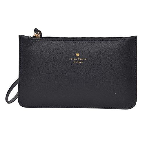 Womens Handbag Wallets on Sale Clearance/COOKI Women Patent Leather Wallets Fashion Clutch Purses Evening Bag Handbag Solid Color x1 (Black) -