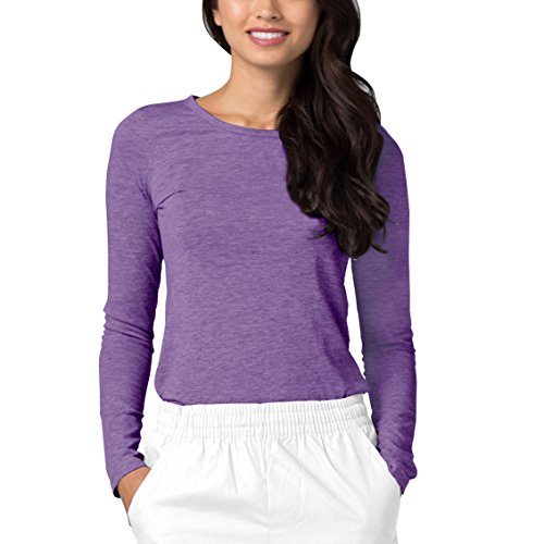 Adar Womens Comfort Long Sleeve T-Shirt Underscrub Tee - 2900 - Heather Purple - S