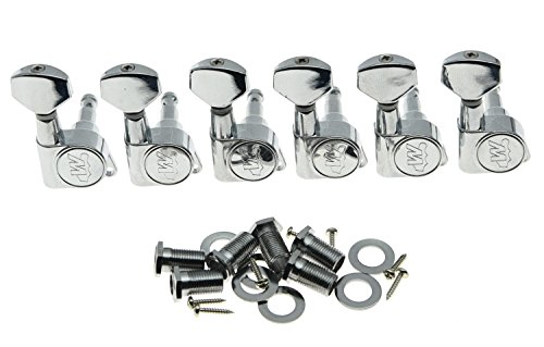 Wilkinson 6 Inline Chrome E-Z Post Guitar Tuners EZ Post Guitar Tuning Keys Pegs Guitar Machine Heads for Strat Tele 6 In Line Locking Tuners