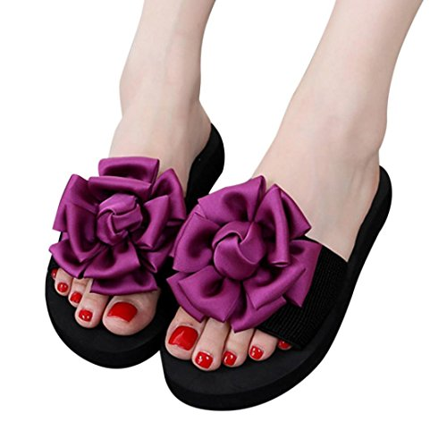 UFACE Schuhe Rot 2018 Innenim Dick Freienflipflops Neu Flower Schuhe Strand Pantoffel Frauen Flip 4 Sandalen Stil Flops Sommer Strand Sandelholz Blumen RrRqT6pw