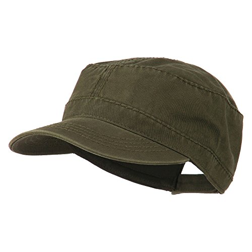 Heavy Garment Washed Cotton Cap (Garment Washed Heavy Stitching Army Cap - Dk Olive Green OSFM)