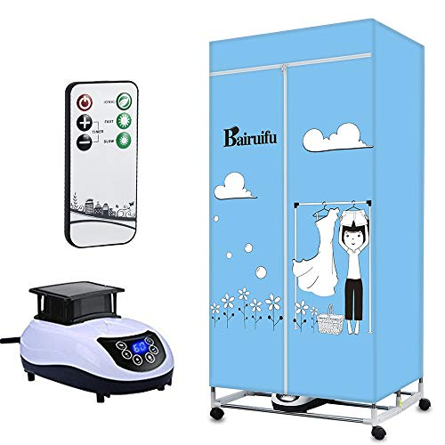 Bairuifu Portable Ventless Clothes Dryer with Automatic Timer Heater Intelligent Wireless Remote Control Operation, PTC + Negative ion Sterilization Cloths Dryer,Safe and Efficient Capacity Energy S