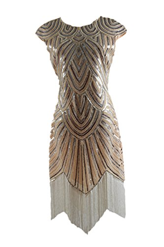 Syne Sun Women's Long Flapper 1920s Beaded Fringed Gatsby Dress (S, Light Yellow) (Yellow Flapper Dress)