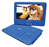 Sylvania 9-Inch Swivel Screen Portable DVD/CD/MP3 Player with 5 Hour Built-In Rechargeable Battery, USB/SD Card Reader, AC/DC Adapter, Blue
