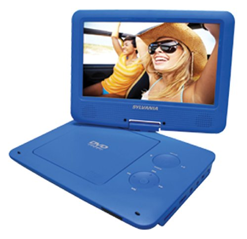 Sylvania 9-Inch Swivel Screen Portable DVD/CD/MP3 Player with 5 Hour Built-In Rechargeable Battery, USB/SD Card Reader, AC/DC Adapter, Blue (9 Portable Dvd Players compare prices)