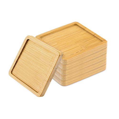 WITUSE 2.8 Inches Drainage Tray Wooden Saucer Bamboo CoasterSimple Chinese Style Bamboo Tray Flower Pot Square Glazed Planter Stand-6pcs