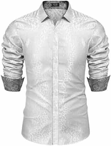 ebc4212be COOFANDY Men's Luxury Paisley Dress Shirt Satin Silk Long Sleeve Button  Shirt