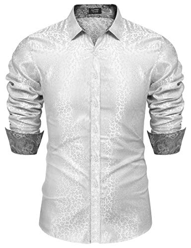 COOFANDY Mens Stylish Satin Floral Silk Shirt Prom Party Costume Button Up Top White - Floral Silk Shirt