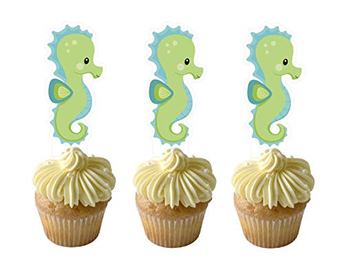 - Seahorse Cupcake Toppers 12 PCS, Cake Picks, Baby Shower, Animals Birthday Party Decorations Supplies, Ocean Sea Themed … …