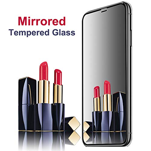 Mirror Screen Protector for iPhone X/XS, YWXTW iPhone Xs Mirror Screen Protector Tempered Glass Case Friendly HD 9H Hardness Anti-Scratch Full Coverage Mirrored Steel Film 5.8