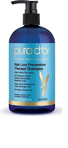 PURA D'OR Hair Loss Prevention Premium Organic Argan Oil Shampoo,16 Fluid Ounce (Packaging may vary)
