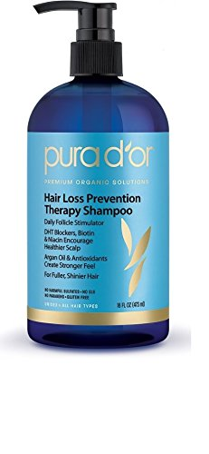 PURA D'OR Hair Loss Prevention Premium Organic Argan Oil Shampoo,16 Fluid Ounce (Packaging may vary)