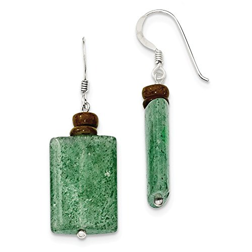 Perfect Jewelry Gift Sterling Silver Green Cracked Aventurine & Brown MOP Earrings
