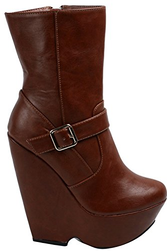 LOLLI COUTURE FAUX LEATHER BUCKLE SIDE ZIPPER PLATFORM KNEE HIGH BOOTS 7 tanpu (Side Zipper Platform)