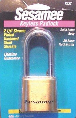 Sesamee Keyless Padlocks, 5/16 in Diam, 2 1/4 in L X 1 in W, Silver/Black (3 Pack)