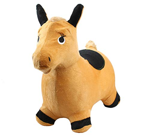 Chromo Bouncy Hopping Toy, Ride On Animal Hopper, Cute Animal Inflatable Jumper, Washable Plush Cover, Pump Included, Activity Gift for 2-5 Year Old Kids Toddlers Boys Girls (Horse (Orange/Black))