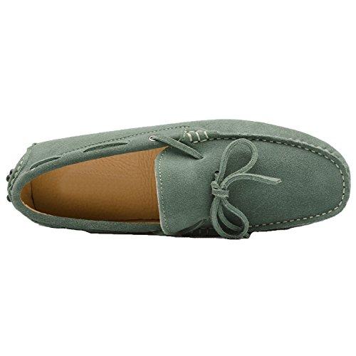 Santimon Herren Schuhe Hausschuhe Slipper Mokassins Casual Business Leder Bummler Fahren Schnüren Halbschuhe Grün