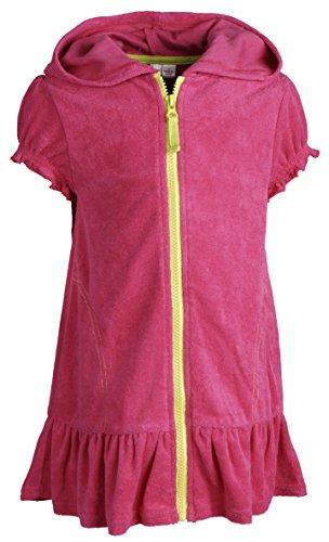 Pink Platinum Big Girls Warm Short Sleeve Terry Coverup Swim Robe with Hood - Fuchsia (Size 10/12)