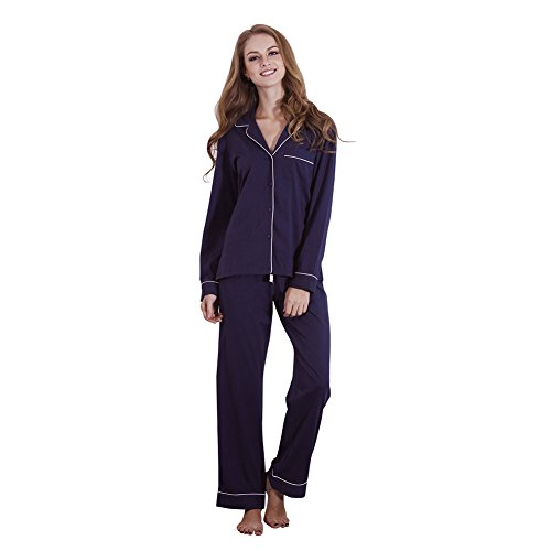 [FeelinGirl 2 Piece Long Sleeve Sleep Set Women's Pajamas with Pj Pants, Navy, Medium] (Customes Halloween Maternity)