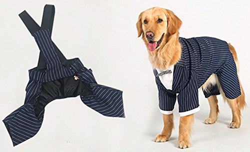 [TibikoPet Navy Wind Couture Formal Tuxedo with Striped Tie Costume Company Business Suit for Golden Retriever, Husky, Samoyed, Border Collie Set] (Business Suit Dog Costume)