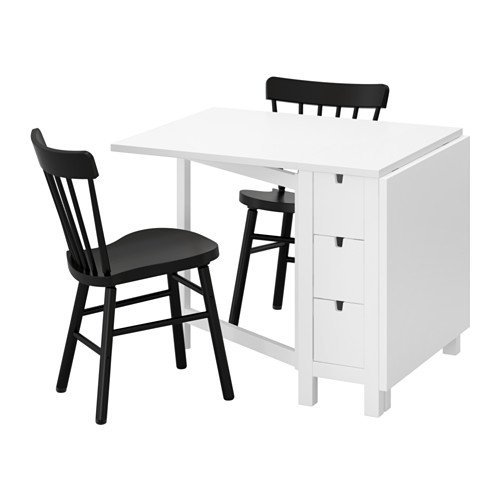 Ikea Table and 2 chairs, white, black 20204.20517.214