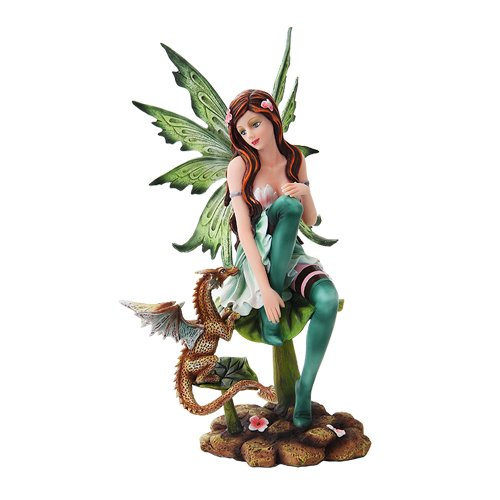 10 Inch Green Winged Fairy Sitting with Baby Dragon Statue Figurine ()
