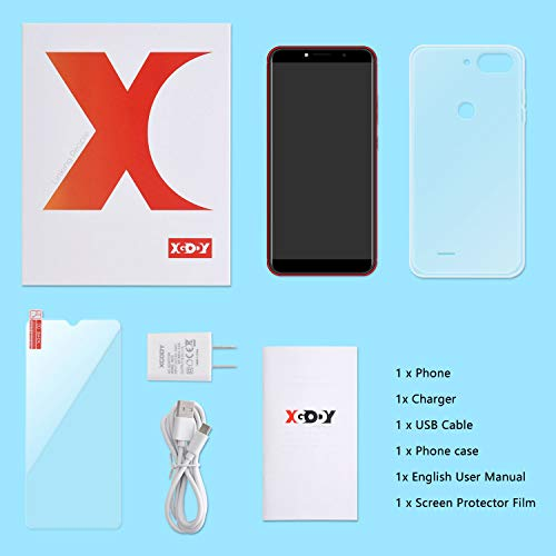 Android Smartphone,XGODY D27 Dual SIM Free Mobile Phone with 5.5 Inch qHD Display(18:9),Andriod Quad Core System,5MP Beauty Camera + 8GB ROM(Red)
