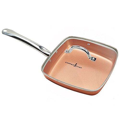 Copper Chef Square Fry Pan with Lid, 95 inch