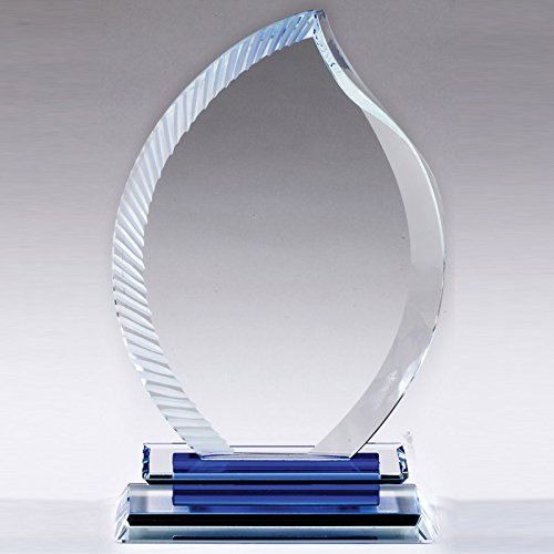 Awards and Gifts R Us Customizable 7 x 4-1/2 Inch Optical Crystal Flame Award, Includes -
