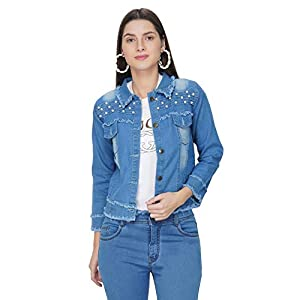 ATI CREATIONS Full Sleeve Comfort Fit Regular Blue Denim Turn-Down Jacket for Women – Medium