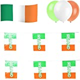 Ireland / Irish Party Set: 12m of Flag Bunting + 5ft x 3ft Flag + 15 Balloons by Rocking Party
