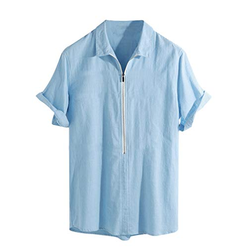 (LUCAMORE Mens Solid Loose Fit Linen Shirts Short Sleeve Casual Zip Up Summer Shirts Tops Blouse Blue)