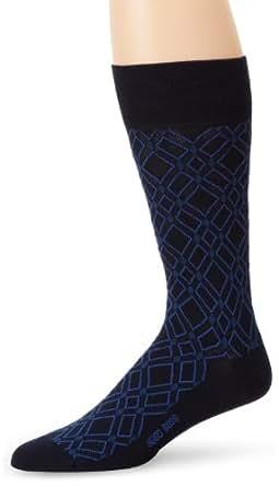 BOSS HUGO BOSS Men's Diamond Pattern Dress Mid Calf Sock, Navy, One Size
